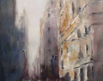 "New York City, street scene, light, urban, architecture, violet, yellow. NYC, A Different Day- Original Watercolor Painting 16"" x 12""."