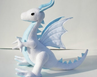 Sky Cloud Dragon Fantasy Plush ~ Handcrafted Eco Friendly Stuffed Animal Toy, White & Blue, Boys Gift, Customizable Toy, Stuffed Dragon Toys
