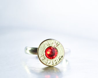Simplistic Bullet Ring-  Nickel and Red