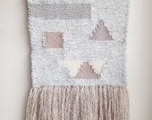 SALE-Geometric Neutral woven wall hanging Weaving