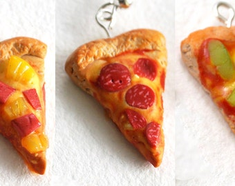 CUSTOM FLAVOR miniature PIZZA earrings - pepperoni, hawaiian, vegetarian - dangle or studs - mini food jewelry