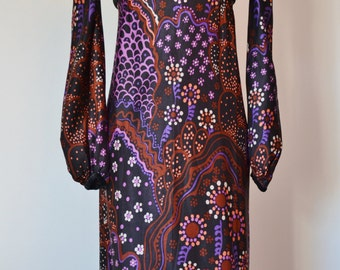 Beautiful vintage 1960s/1970s maxi dress psychedelic print black velvet bodice boutique London England