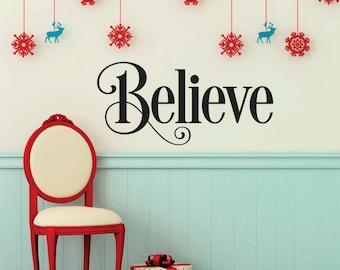 Believe Christmas Vinyl Wall Art Decal - Christmas Decor Vinyl Wall Decal - Believe Christmas Decoration Vinyl Lettering Wall Art Decor