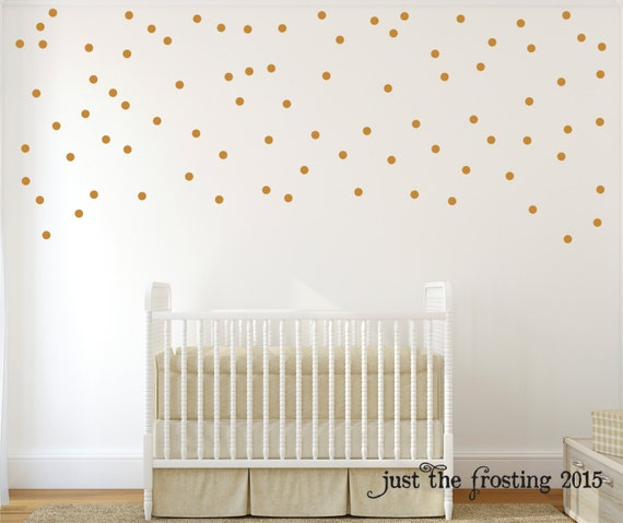 Gold Wall Decals Polka Dots Wall Decor Confetti Polka Dot