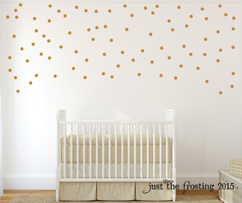 Gold Wall Decals Polka Dots Wall Decor Confetti Polka Dot