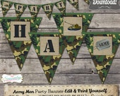 Army Men Party Banner - INSTANT DOWNLOAD - Editable & Printable Party Decoration by Sassaby