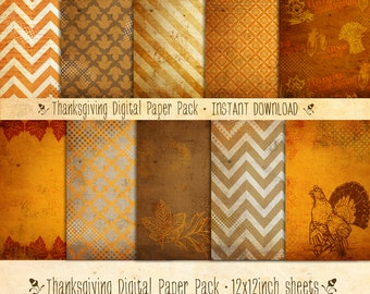 Thanksgiving Digital Paper Pack 10 Digital Sheets - INSTANT DOWNLOAD - Scrapbooking Card Making or Blog Backgrounds by Sassaby