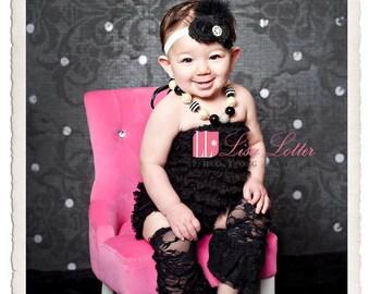 Ivory and Black Headband..Black and Ivory Headband..Feathers..Black and Ivory Baby Headband..Black and Ivory Headband for Little Girls