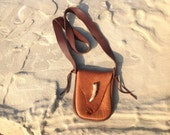 Buffalo Leather Bag with Antler Closure