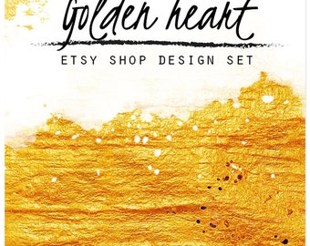 Etsy banner, Gold banner, Shop graphics, Organic Minimalistic Gold Jewelry Modern Etsy Banner, Custom banner, Cover photo