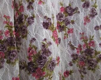 Designer's White Floral Mesh appearance Buttoned Down Blouse, Medium