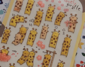 Lovely Giraffe Stickers (1 sheet)