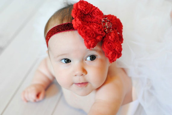 Valentne's Day Bow, Baby Headband, Red Baby Bow, Glitter Headband, Baby Headband, Big Hair Bow, Baby Headband, Red Baby Headband