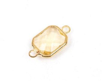 "1 Rectangle Gold Brass Connector Link Charm, faceted LIGHT TOPAZ CITRINE Glass, 18x11mm, 3/4"" long, November Birthstone, chg0196"