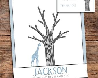 Giraffe Fingerprint Tree Guestbook for Shower, Birthday, Party