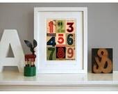Art Deco numbers, pop art print. Contemporary collage. Maybe kids room art. Typographic ephemera fine art giclée. Title: 'Signals Argentina'