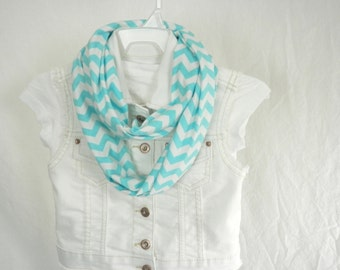 Girls Infinity Scarf Turquoise Aqua and White Chevron Cotton Jersey Knit Scarf by Thimbledoodle