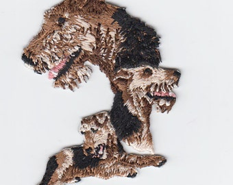 Airedales  Embroidered Iron On Patch Applique