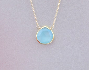 Petite Aqua Chalcedony Tear Shape Pendant Necklace
