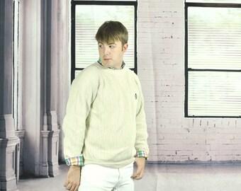 Vintage Ralph Lauren Sweater Size Medium Off White Pullover Knit Jumper Cream Beige Natural All Cotton