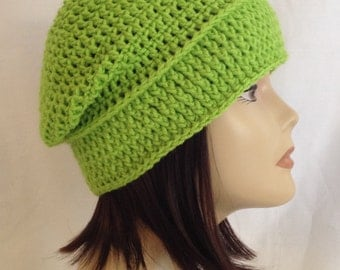 """long slouch beanie,cap,hat crochet in the color lime green unisex fits teens and adults 20""""-22"""""""