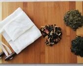 Reusable Tea bag - Organic cotton-hemp muslin fabric, Ecofriendly, Cotton cord, Set of 2 - 1 Small bag size + 1 Large bag size