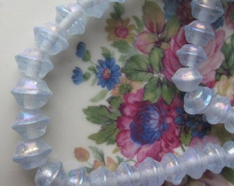 Vintage Saturn Shaped Light  Blue Glass Beads