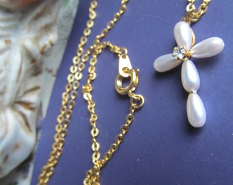 4 Vintage Pearl And Rhinestone Cross  Chain