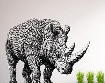Rhinoceros Wall Sticker Decal – Ornate Animal Art by BioWorkZ