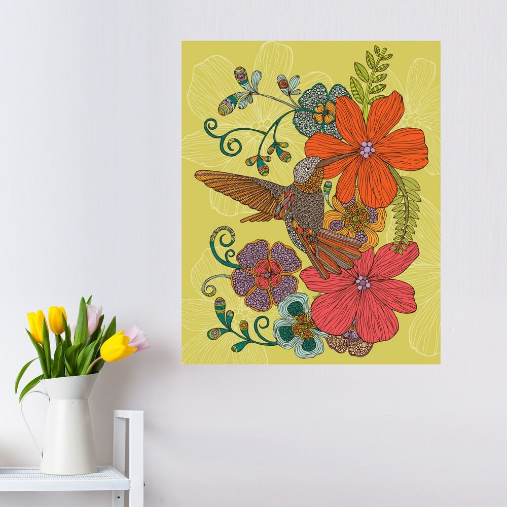 Floral Hummingbird Art Wall Decal By Valentina Harper