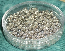 """8/0 Silver Electroplated permanent finish glass seed beads (2 ~3 mm)- 3"""" x 1/2"""" tube"""