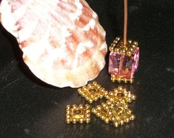 Tibetan style antique Gold square bead cap- 7 mm -( 50 pieces)-A697-ag