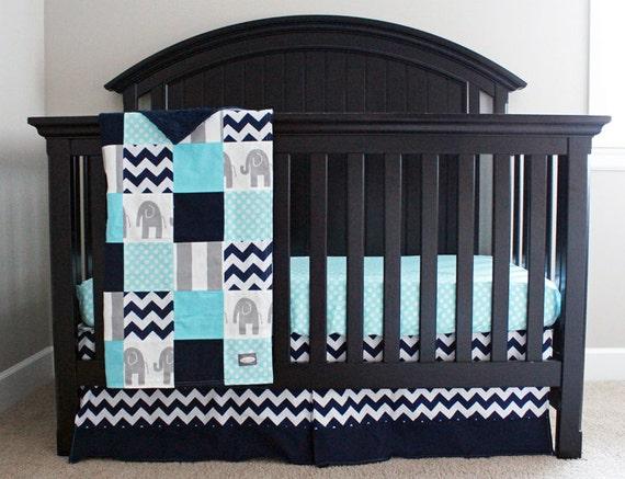 Aqua Navy Grey Baby Bedding Custom Crib Bedding By