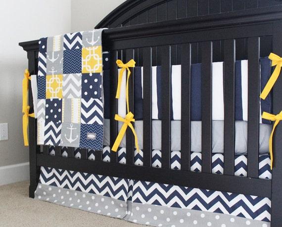 Nautical crib bedding yellow navy blue and grey by - Navy blue and yellow bedding ...