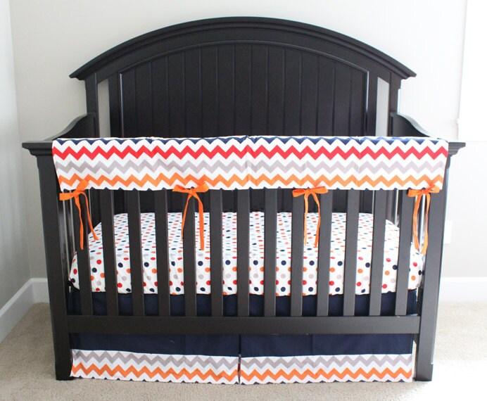 Custom crib bedding navy blue bedding orange red by - Navy blue and orange bedding ...