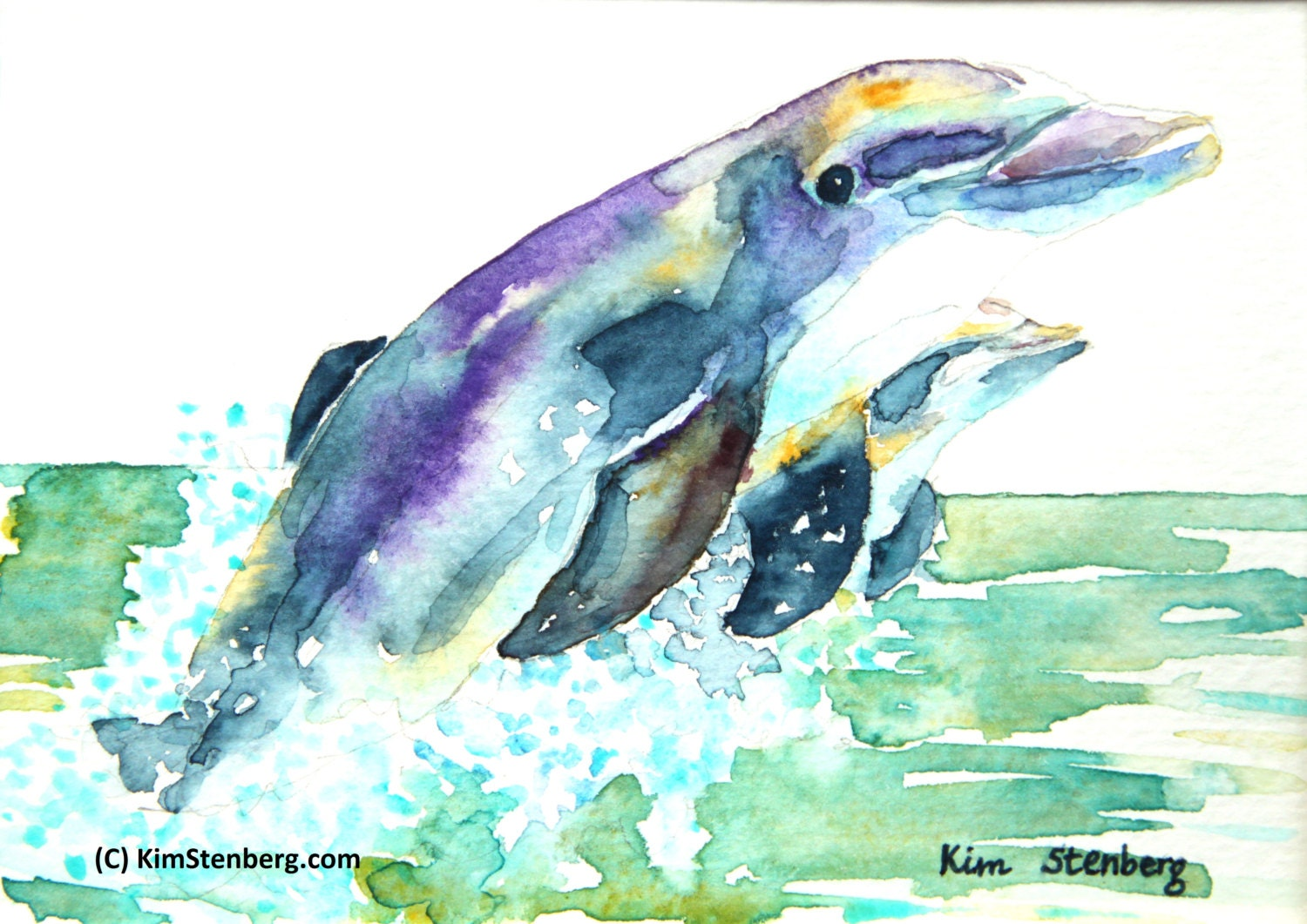 On Sale Dolphin Painting Original Watercolor Dolphin