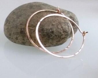Rose Gold Hoop Earrings, Skinny Three quarter inch Hoops, Gold filled hoops, Thin Small Hoops, Minimalist Hoop, Gold Hoops, Wife Her Gift