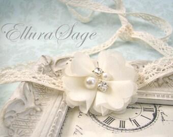 Lace Tie Back Headband, Vintage crochet Headband, ivory boho headband, Baby headband, Wedding Bridal Lace Headband, Christening Headband