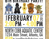 Printable Star Wars Inspired Invitation - Jedi Invite DIY boy girl knight darth vader r2 d2 yoda c-3po invite card printable birthday