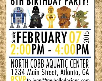 Printable Star Wars Inspired Invitation - Jedi Invite DIY boy girl knight darth vader r2 d2 yoda c-3po invite card printable birthday