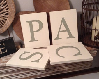 Rustic Wooden Letter Sign, Plaque - Initial, Monogram - Any Letter - Any Colour