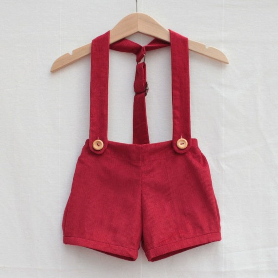Prince George like outfit | baby boys retro shorts with braces, vintage style | baby boy prince christening or wedding outfit in red cord