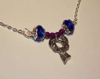 Silver Stag Pendant Necklace in Plum and Cobalt Blue - Winter, Forest, Reindeer, Woodland - Great Whimsical Gift!