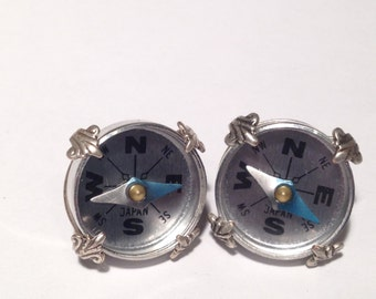 Large Prong Set Directionally Determined Earrings - Compass, Orienteering, Steampunk - Soldered