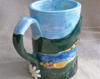 Green and blue mug, Cup with hill, river, tree and daisy landscape - handbuilt porcelain