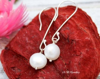 White Freshwater Pearl Sterling Silver Earrings