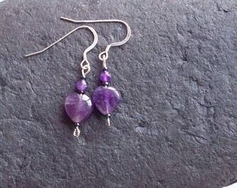Amethyst Heart Earrings ~ Purple Heart Earrings