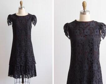 1960s Black Lace Dress / Daisy Black Dress