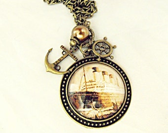 Bronze Pendant Necklace,  Steampunk Nautical Titanic Ship Image,  With Pearl And Charms  Womens Gift  Handmade