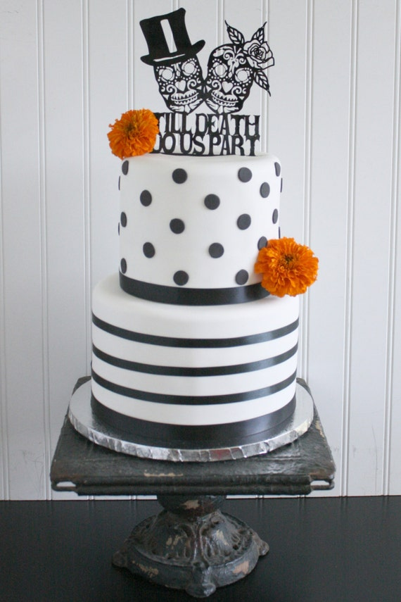 Day of the Dead Gothic Wedding Cake Topper Skeleton Sugar